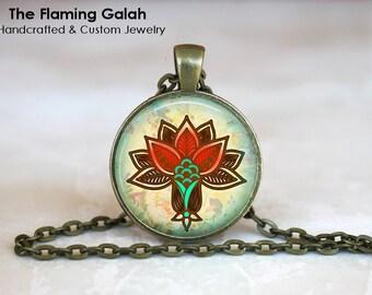 LOTUS FLOWER Pendant •  Spiritual Flower • Mandala Flower • Red Lotus Flower • Buddhist Flower • Gift Under 20 • Made in Australia (P0343)