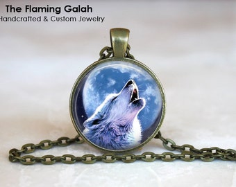 HOWLING WOLF in the MOONLIGHT Pendant •  White Wolf •  Howling Wolf •  Moonlit Wolf • Gift Under 20 • Made in Australia  (P0324)