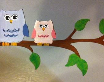 Owls On Limb Metal Wall Art