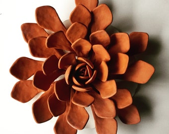 Large terra cotta succulent wall piece