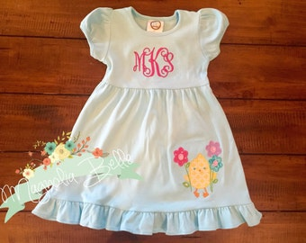 Monogrammed Girl's Ruffle Dress with Chick & flower applique