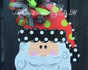 Santa door hanger, wooden door hanger, Christmas decor, Christmas wreath