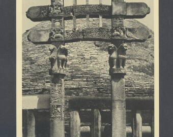 The Great Stupa at Sanchi ... Print from 1920's