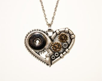 "Aww Snap Steampunk Heart. This large snap heart on a 20"" chain. Add any 18-20mm snap, noosa, popper or gingersnap to make it your style"