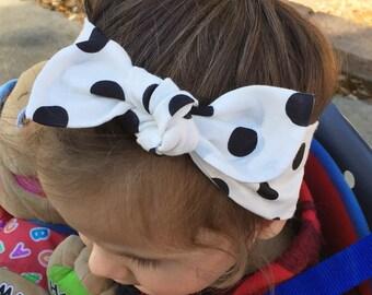 ADULT White Polka Dot top knot headband