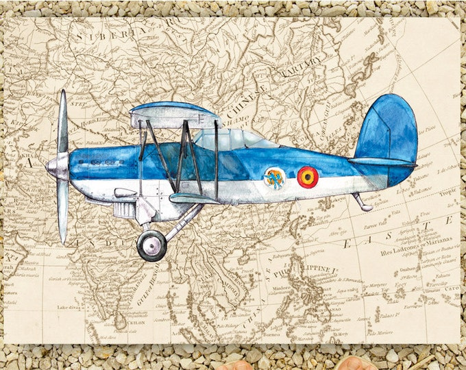 Airplane print Vintage World's map Boys nursery decor Aviation Vintage style transportation poster Boy nursery wall art