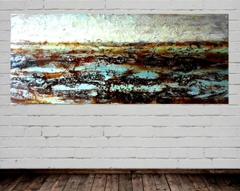 "Original Oil Painting Encaustic Abstract Landscape ""Arctic Tundra"" Extra Large (50 inches x 25 inches)"