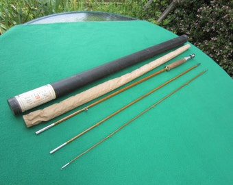 Vintage Split Bamboo Fly Fishing Rod 3 Piece with Case 8 1/2' Montague Case