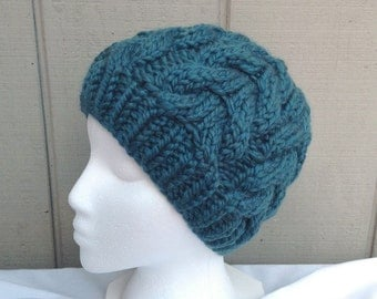 Chunky knit beanie  - Teal cabled hat - Womens wool beanie - Knit bulky hat