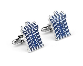 Men's Cuff Links - Dr. Who Tardis Police Call Box