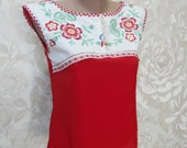 Hand embroidered etno inspired top - size S