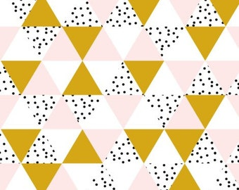 Changing Pad Cover - Pink, Gold, and Polka Dot Triangles