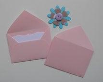 Light Pink Mini envelopes, Set of 10, Mini envelopes with note cards, Mini envelopes with inserts, Paper ephemera, Paper embellishments