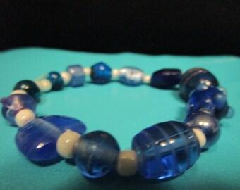 Blue and White Glass Beaded Bracelet