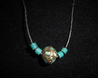 Vintage Sterling and Turquoise Ball Necklace
