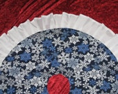 LINED Blue White Snowflakes CHRISTMAS Tree SKIRT