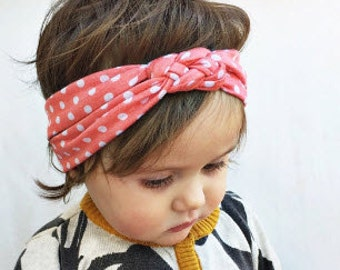 Knotted polka dot Jersey headband for baby/toddler