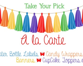 A la Carte - Water Bottle Labels, Stickers, Favor Tags, Candy Wrappers - Take your Pick