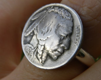 Tribal Ring Buffalo Indian Nickel coins various dates 1930 s sterling silver plated  band 8 to 14 size  Native Indian style handcrafted