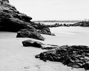 Black and white beach photography. Nautical Decor. Coastal Wall Art. Fine Art Beach Photography. Rocks