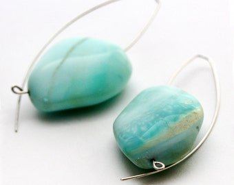 Baby Blue Peruvian Opal Stones on Silver