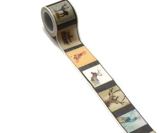 WASHISAMPLE wide sample with animal pictures 3 cm washi