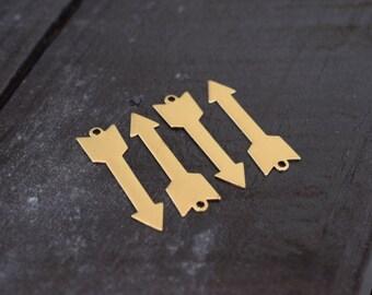 Brass Arrow Necklace Pendant Charms, 4pcs