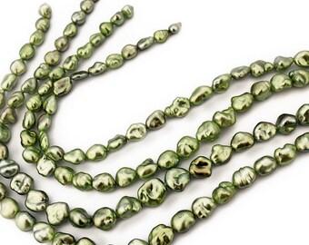 Tahitian Keshi Green Pistachio Pearls