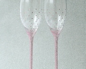 Pink rhinestones Personalized Champagne Wedding Flutes, Set of 2, Wedding glasses, Bride and Groom, Swarovski Crystals, champagne glasses