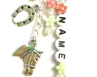 Personalised horse keyring~horse kilt pin brooch~best friend~apple charms~equestrian gift