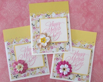 Mother's Day card-Greeting cards,floral cards,Love cards,pretty yellow cards,cards for Mom,stamped cards,stationery,Handmade/Homemade cards