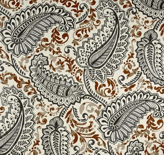 Contemporary Brown Gray Home Decor Fabric by the by