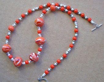 Dark red, white and Coral Necklace