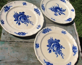 set of 3 Rare Vintage Villeroy Boch Mettlach Blue Floral Saar Basin Plates