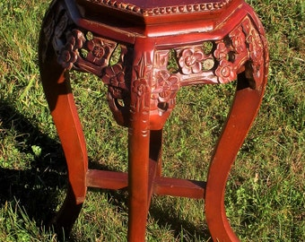 Carved Wood Marble Top Rosewood Plant Stand Round Side Table Gorgeous