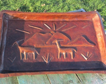 Vintage Red Copper African Art Wall Plate Handmade Signed Kalumba