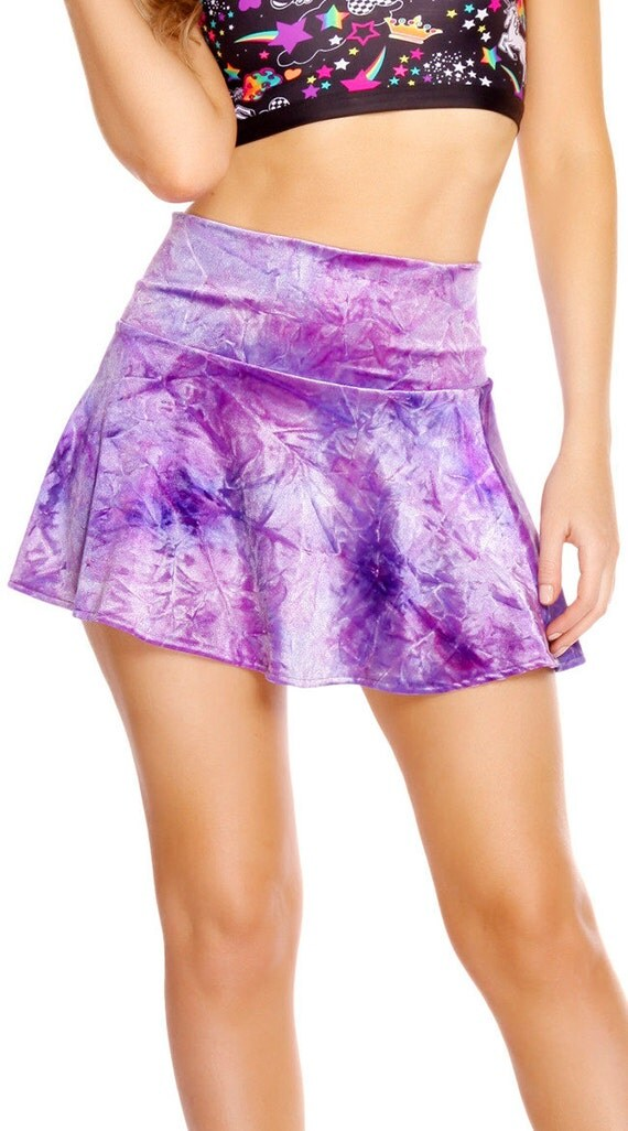 velvet sparkle high waisted skirt violet by lipglosswear