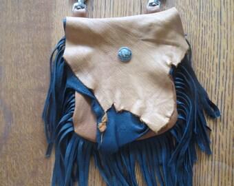 Rustic Deerskin Belt Loop Hip Bag with Fringe, Chocolate and Mixed Brown