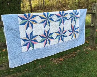 Blue and White Multicolored Vintage Quilt Double Lemoyne Star Pattern Alabama Star 86X69