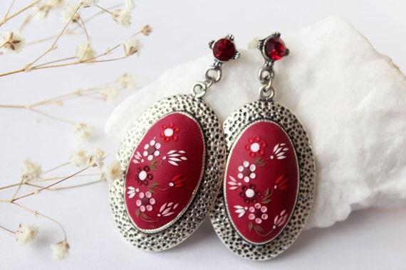 Burgundy earrings vintage red flower earrings by ...