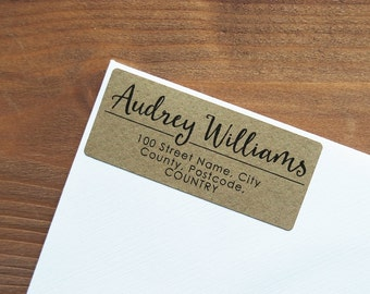 30 Custom Return Address Labels Personalized Kraft Brown Address Stickers / 912