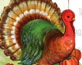 Retro Turkey Happy Thanksgiving Day Card #428 Digital Download