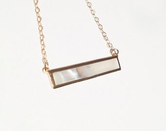 22kt Gold Genuine Mother of Pearl Minimalist Gold Filled Bar Necklace
