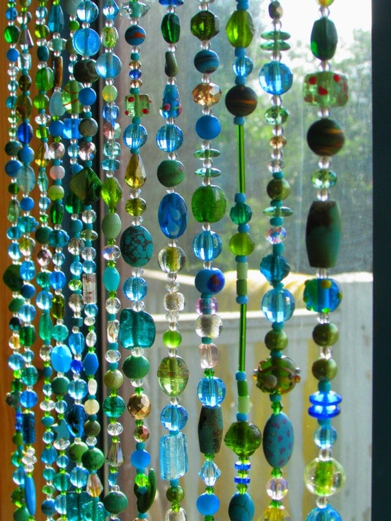 Beaded curtain multicolor glass beaded suncatcher by ronitpeterart - Glass beaded door curtains ...
