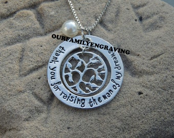 Thank you for raising the man of my dreams gift for Mother in law MIL Hand stamped pendant necklace