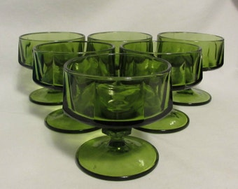 Dessert Dishes, Set of Six, 1970's Avocado Green Glass