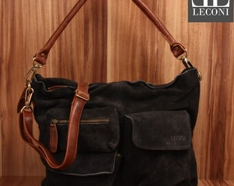 LECONI shoulder bag shoulder bag lady bag leather bag suede leather anthracite LE0039-VL
