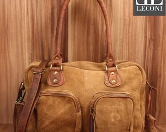LECONI shoulder bag handbag Tote shoulder bag women's suede leather cognac LE0046-VL