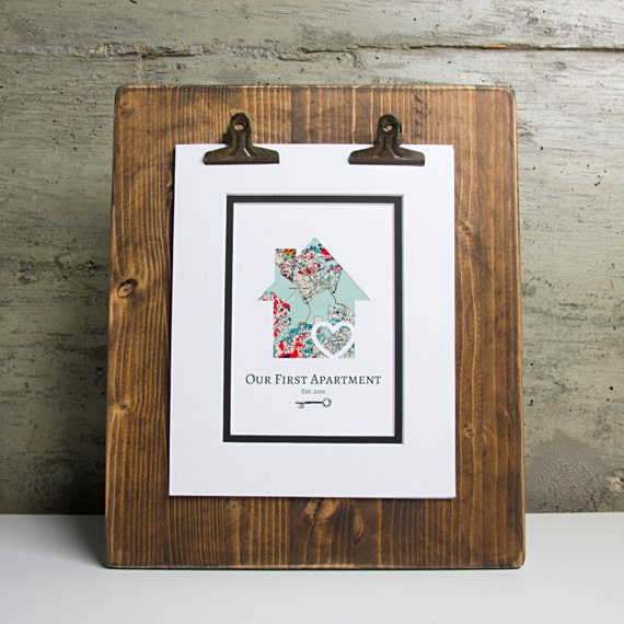 Our first apartment personalized home map w key first for Gifts for first apartment