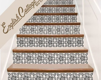 Stair Decals . English Cottage Vinyl Staircase Steps Decor Stickers . Your Choice of Color and Quantity